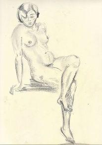 Sitzen, Zeichnung, Martha krug, Leipzig