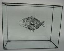 Drahtplastik, Drahtskulptur, Fisch, Plastik