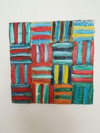 Quadrat, Streifen, Ölmalerei, Abstrakt