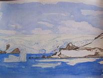 Antarktis, Landschaft, Gouachemalerei, Aquarell