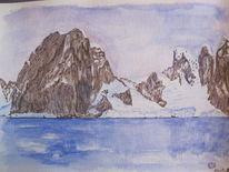 Eisberg, Antarktis, Gouachemalerei, Aquarell