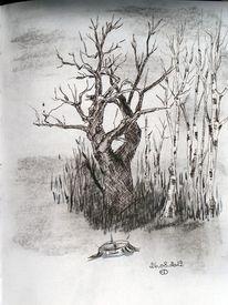 Landschaft, Tuschmalerei, Zeichnung, Zeichnungen