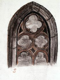 Architektur, Gotik, Kohlezeichnung, Fenster