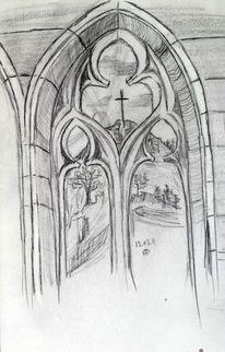 Bleistiftzeichnung, Architektur, Gotik, Fenster