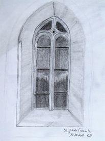 Fenster, Bleistiftzeichnung, Architektur, Gotik