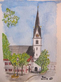 Aquarellmalerei, Prien, Kirche, Aquarell