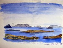 Landschaft, Aquarellmalerei, Norwegen, Aquarell