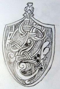 Bleistiftzeichnung, Wiking, Messerbeschlag, Zeichnungen