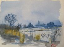 Landschaft, Winter, Aquarellmalerei, Aquarell