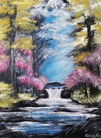 Fluss, Acrylmalerei, Stein, Bunt