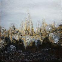 Silber, Acrylfarben, Acrylmalerei, Stadt
