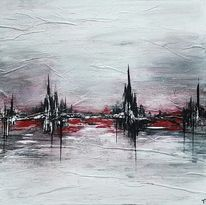 Silbrig, Gemälde, Abstrahierte stadt, Schwarz