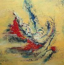 Weiß, Acrylmalerei, Abstrakte malerei, Gelb