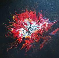 Schwarz, Acrylfarben, Wandbild, Flammen