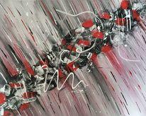Spachteltechnik, Abstrakt, Schwarz weiß, Rot