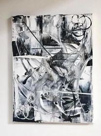 Weiß, Schwarzweiß, Abstrakt, Gemälde