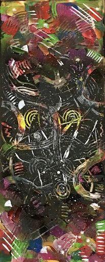 Spachteltechnik, Acrylmalerei, Bunt, Malerei abstrakt