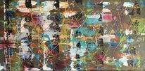 Abstrakte malerei, Mabo, Bunt abstrakt, Abstraktes gemälde