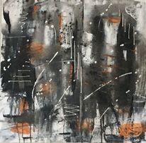 Schwarz weiß, Gemälde, Spachteltechnik, Malerei abstrakt