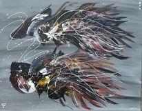 Schwarz weiß, Acrylmalerei, Spachteltechnik, Tiere abstrakt