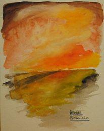 Himmel, Aquarellmalerei, Tag, Landschaft
