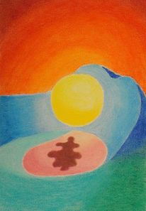 Sonne, Berge, See, Farben
