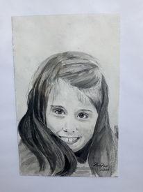 Portrait, Mädchen, Lächeln, Aquarell