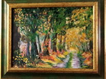 Herbst, Baumallee, Buntes laub, Malerei