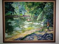 Malen, Sommer, Teich, Malerei
