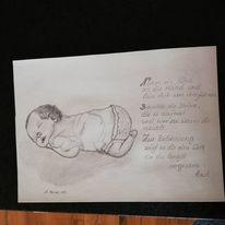 Baby, Bleistiftzeichnung, Zeichnung, Zeichnungen