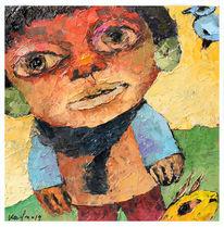 Ölmalerei, Figurativ, Auf karton, Menschen