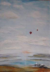 Himmel, Landschaft, Wolken, Acrylmalerei