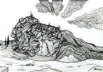 Fantasie, Landschaft, Zeichnung, Mystik