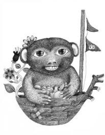 Apfel, Illustration, Metapher, Boot