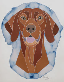 Hundeportrait, Hund, Acrylmalerei, Vizsla
