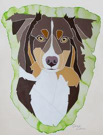 Nach fotovorlage, Und aquarellfarben, Geschenkidee, Hundeportrait