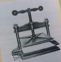 Zeichnung, Bleistiftzeichnung, Buchpresse, Zeichnungen