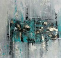Abstrakt, Silber, Grün, Malerei