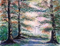 Landschaft, Märchenwald, Lichtung, Wasserfarbe