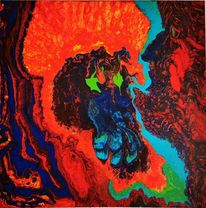 Abstrakt, Fantasie, Acrylmalerei, Mischtechnik