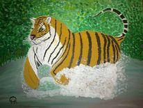 Tiere, Tiger, Malerei, Jagd