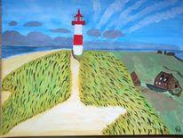 Abstrakte malerei, Natur, Wasser, Leuchtturm