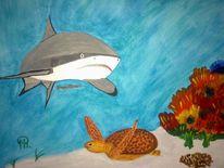 Abstrakte malerei, Hai, Unterwasserwelt, Malerei