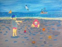 Meer, Landschaft, Menschen, Abstrakte malerei