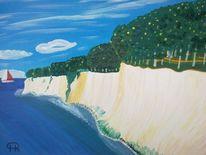 Landschaft, Abstrakte malerei, Steilküste, Natur