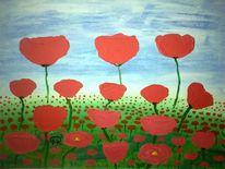 Abstrakte malerei, Blumen, Natur, Mohn