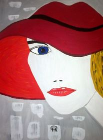 Abstrakte malerei, Frau, Malerei, Lippen