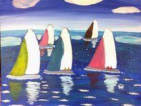 Abstrakte malerei, Segelboot, Sport, Malerei