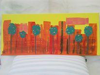Abstrakte malerei, Skyline, Landschaft, Baum