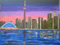 Landschaft, Stadt, Skyline, Abstrakte malerei
